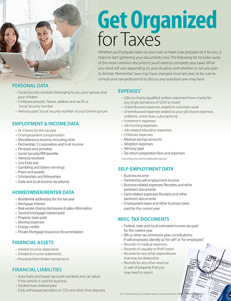 get organized for taxes ruben nancy you plan to itemize remember laws have changed since last year so be sure to consult your tax professional to discuss any questions you have